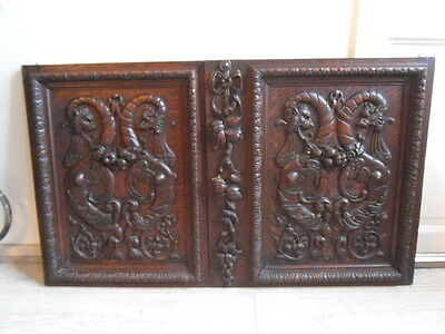 French antiquity pair of dragons Gothic doors / chimeras with oak decor xix èm