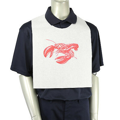 """Royal 14"""" x 21.25"""" Lobster Design Adult Tie-On Bibs, Pack of 500, ATB24-25A"""