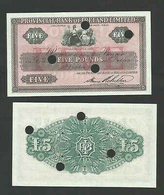 Provincial Bank Of Ireland £5 Unissued Remainder 1926 Last All Ireland Issue
