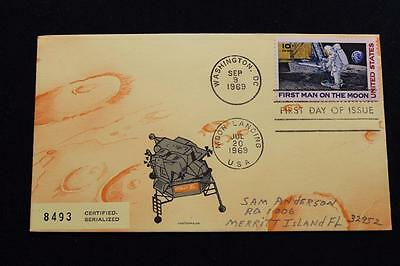 Space Cover Apollo 11 Moon Landing &  1St Day Issue Dual Cancel Serialized (537)