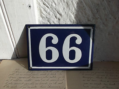 French blue & white house gate number  66 or 99  plate porcelain enamel solid