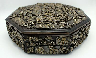 Fine Antique 19Th C. Japanese Brass Samurai Menuki Octagonal Lacquered Box