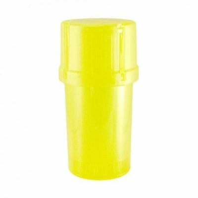 Lot of ( 3 ) MedTainer Storage Container w/ Built-In Grinder-Yellow