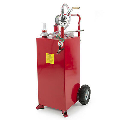 30 Gallon Gasoline Fuel Diesel Gas Caddy Transfer Tank Container w/ Rotary Pump