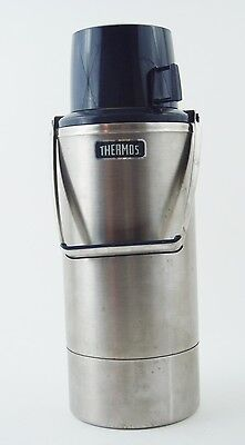 VINTAGE 1970's THERMOS Stainless Steel Vacuum Bottle Model 2466 2 Qt w/ Handle