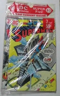 Sealed 3-pack Comics DC Super Pac B-3 1973 Superman 262 Wanted 7 Mr. Miracle 13