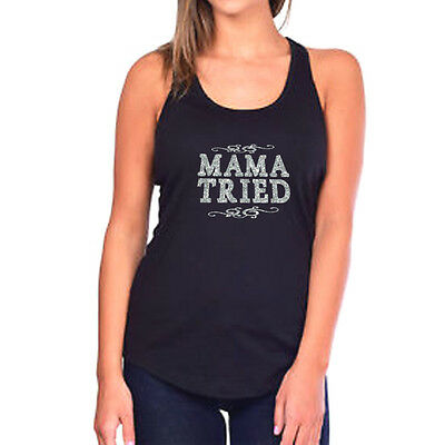 275aad9841099 MAMA TRIED GLITTER Tank Top - Country Concert Lyrics Southern Merle ...