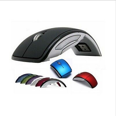 USB 2.4G Snap-in Receiver Optical Foldable Folding Arc Wireless Black Mouse Mice