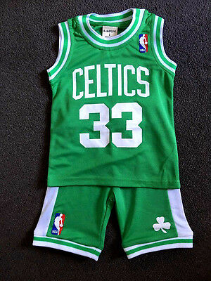 Baby Kids NBA Basketball Jersey Top Short Set Boston Celtics - Bird #33