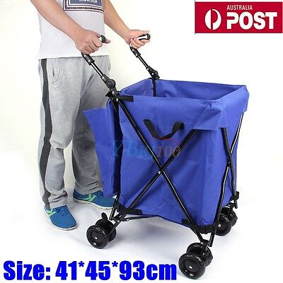 Foldable Grocery Shopping Cart Trolley Steel Bag Folding Luggage Wheels Basket