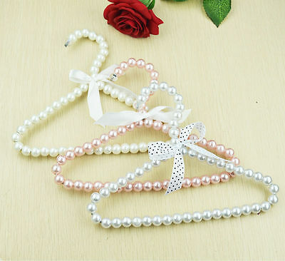 3 pcs Hanger Hanging For Kid Clothes Children Space Save Plastic Pearl Baby j