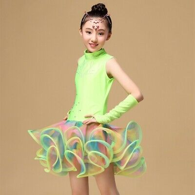 Girls Latin Salsa Dance Wear Dress Costumes Kids Ballroom Dancing Dress