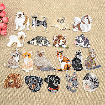 Lovely Dog Cat Iron On Patches Embroidered Applique for DIY Clothing Bag Craft