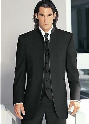 Black Men Suits Round Collar Formal Wedding Groom Tuxedos Best Man Prom Suit