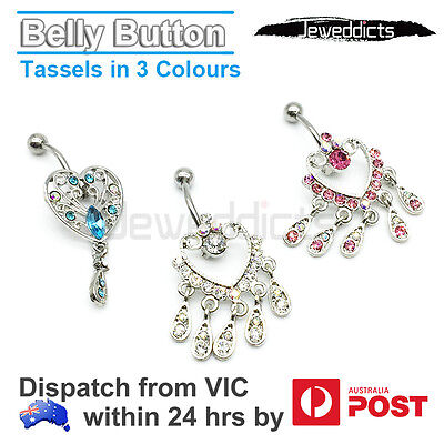 Belly Bar Ring Button Navel Dangle Body Piercing Jewellery Barbell
