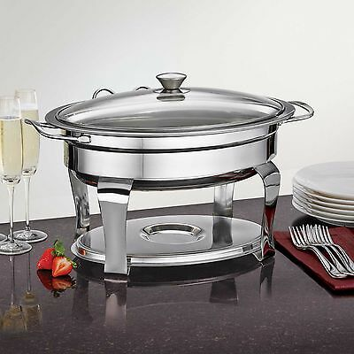 Tramontina Professional Stainless Steel Oval Buffet Food Warmer Chafing Dish Pan