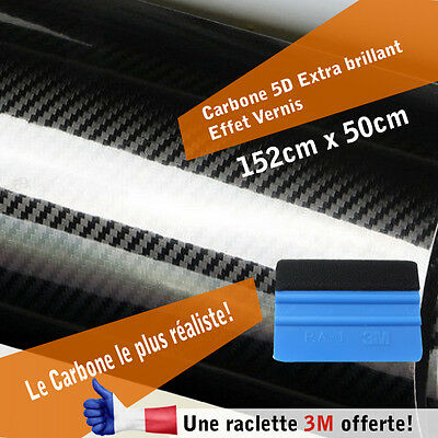 Carbone autocollant stickers thermoformable 5D noir extra brillant réaliste + 3M