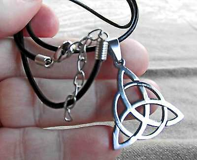 """Circle Triquetra stainless steel pendant on 56cm (22.4"""") x 2mm leather necklace."""