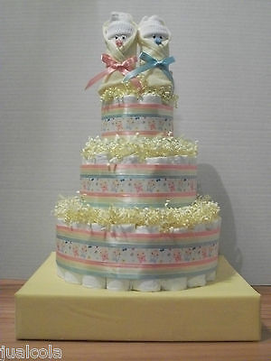 Neutral Or Twin Big Diaper Cake With Stand Baby Shower Centerpiece Gift