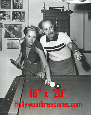 """Groucho Marx~Wife~Shooting Pool~Playing Pool~Billiards~16""""x20""""~Poster~ Photo"""