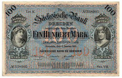 Dresden/Saxony Bank Intricate 100 Mark Note - Issued 1911