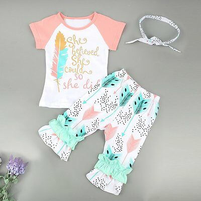 3PCS Toddler Kids Baby Girls Clothes T-shirt Tops+Pants+ Headwear Outfits Set