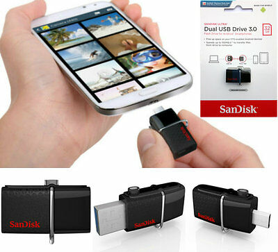 SanDisk 32GB 150MBs Dual OTG USB 3.0 Flash Drive Memory Stick For Samsung phones