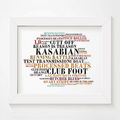 `Stoned Love` KASABIAN Art Print Typography Album Song Lyrics Signed Wall Poster