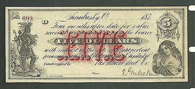 Obsolete Currency 187 - 5$ Note Sandusky Ohio Third National Bank