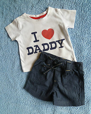 Baby clothes BOY 0-3m outfit I love Daddy white short sleeve t-shirt/navy shorts