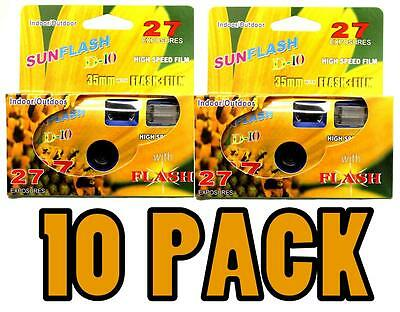 10 Pcs SunFlash Single Use 35mm Film Disposable Camera with Flash - FRESH DATE