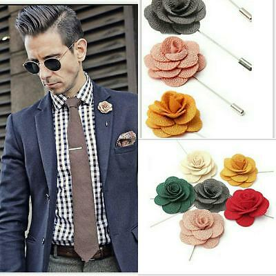 NEW Men's Corsage Boutonniere Brooch Fabric Daisy Flower Lapel Pin Wedding/Suit