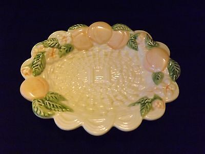 Vintage Ceramic Small Dish with Peaches and Basket Weave