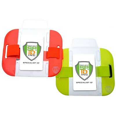 2 Pack - High Visibility - Bright Armband ID Badge Holders w Adjustable Arm Band