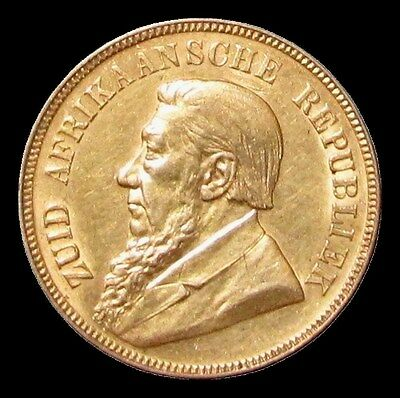 1898 Gold South African Republic Boer 1 Pond Coin Au Condition