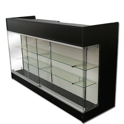 "6' BLACK Wooden Knockdown Showcase/ POS Counter 21""D x 42""H"