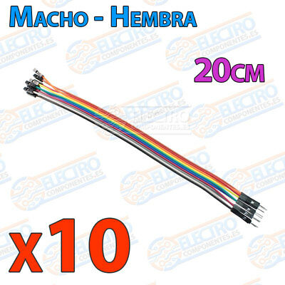 10 Cables 20cm Macho Hembra jumper dupont 2,54 arduino protoboar cable