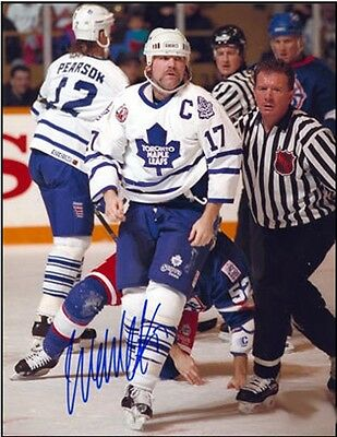 Wendel Clark Toronto Maple Leafs Signed Fight Champ 8x10 Photo