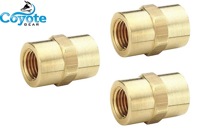 "3 Pack Lot 1/8"" FNPT NPT Pipe Thread Female Hex Coupler Union Brass Fittings"