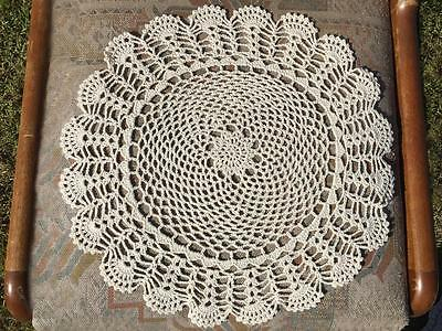 Vintage Beige Cotton Flower Hand Crochet Lace Doily/Topper/Tray Cloth Round