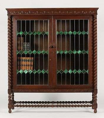 Handsome Jacobean Barley Twist Carved Solid Oak & Leaded Glass Krug Bookcase