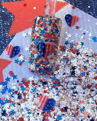 glitter mix nail art acrylic gel   4th Red White & Blue  American Sweetheart