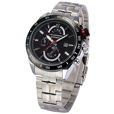 CURREN Stylish Mens Black Date Stainless Steel Military Sport Quartz Wrist Watch