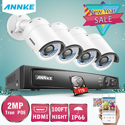 ANNKE 8CH 1080P 5MP NVR 2MP Video Home Security IP Camera System Digital WDR 1TB