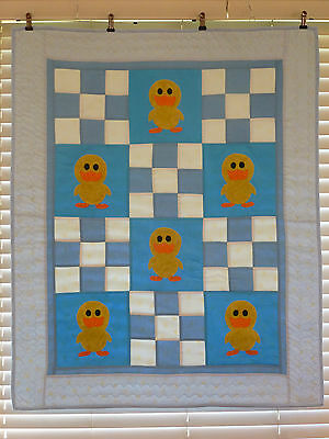 Handmade Patchwork Quilt Set - Baby Ducks - includes matching security blanket