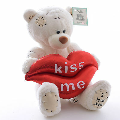 White Patch Bear Hold Kiss Me Red Lips Pillow Plush Valentine's Dolls Toys 5''