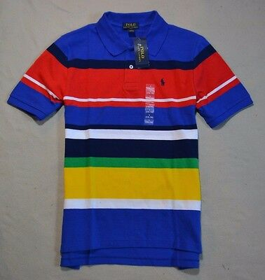 Nwt Boys Youth Polo Ralph Lauren Striped Short Sleeve Rugby Polo Shirt Sz L, Xl