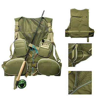 Outdoor Fly Fishing Mesh Vest Adjustable Mutil-Pocket Outdoor Sports Backpack