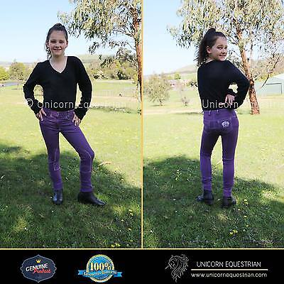 Kids Crown Denim Jodhpur Breeches 6 -14 Purple white stitching Crown Embroidered