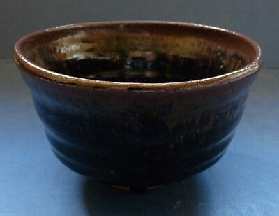 Old Japanese Pottery Chawan (Teabowl) With Tenmoku Glaze